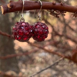 Red Spherical Ear Rings